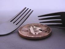 Σκληρός-μαλακό δίκρανο Bitcoin στοκ φωτογραφίες με δικαίωμα ελεύθερης χρήσης