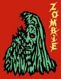 Σκληρό πράσινο πρόσωπο της γυναίκας zombie διανυσματική απεικόνιση