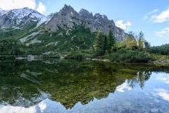 σλοβάκικη Καρπάθια λίμνη βουνών το φθινόπωρο Pleso Popradske Στοκ φωτογραφία με δικαίωμα ελεύθερης χρήσης