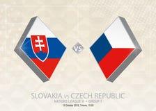 Σλοβακία εναντίον της Δημοκρατίας της Τσεχίας, ένωση Β, ομάδα 1 Ποδόσφαιρο γ της Ευρώπης Διανυσματική απεικόνιση