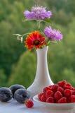 Σμέουρα, δαμάσκηνα και μια ανθοδέσμη των λουλουδιών σε ένα βάζο Στοκ εικόνες με δικαίωμα ελεύθερης χρήσης
