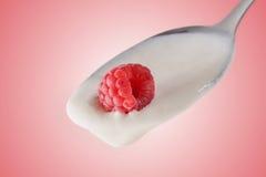Σμέουρο στο κουτάλι, κόκκινο υπόβαθρο Στοκ εικόνα με δικαίωμα ελεύθερης χρήσης