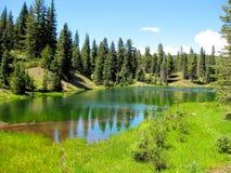 Σμαραγδένια πράσινη λίμνη υψηλών βουνών στοκ φωτογραφίες