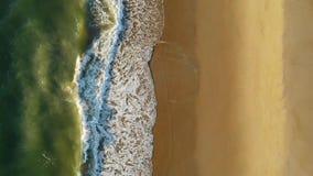 Σμαραγδένια ωκεάνια ώθηση κυμάτων επάνω επάνω στην άμμο στην παραλία ΗΠΑ της Βιρτζίνια απόθεμα βίντεο