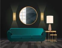 Σμαραγδένιος καναπές με τα χρυσά τραπεζάκια σαλονιού Στρογγυλός καθρέφτης στον τοίχο με την αντανάκλαση απεικόνιση αποθεμάτων