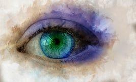 Σμαραγδένιο πράσινο ρεαλιστικό μάτι Απεικόνιση Watercolor σε κατασκευασμένο χαρτί απεικόνιση αποθεμάτων
