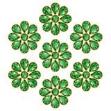 Σμαραγδένια πράσινα απομονωμένα λουλούδια αντικείμενα διανυσματική απεικόνιση