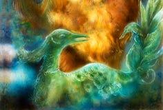 Σμαραγδένιο πράσινο πουλί του Φοίνικας νεράιδων, ζωηρόχρωμη διακοσμητική φαντασία PA Στοκ εικόνα με δικαίωμα ελεύθερης χρήσης