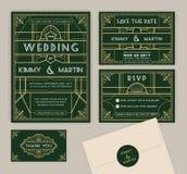 Σμαραγδένιο πράσινο πρότυπο γαμήλιας πρόσκλησης deco τέχνης Στοκ Εικόνα