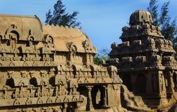Σμιλευμένες μοίρες στο mahabalipuram- πέντε rathas Στοκ εικόνα με δικαίωμα ελεύθερης χρήσης