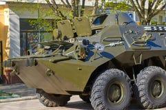 ΣΜΟΛΕΝΣΚ, ΡΩΣΙΑ - 3 ΜΑΐΟΥ 2018: Στρατιωτικός εξοπλισμός μπροστά από Στοκ εικόνα με δικαίωμα ελεύθερης χρήσης