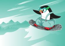 Σνόουμπορντ αθλητικός χαρακτήρας χαρακτήρα κινούμενων σχεδίων διανυσματικός penguin ελεύθερη απεικόνιση δικαιώματος