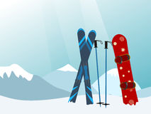 Σνόουμπορντ και σκι στο θέρετρο βουνών σκι Διανυσματικό Illustratio Στοκ φωτογραφία με δικαίωμα ελεύθερης χρήσης