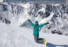 Σνόουμπορντ στο λόφο χιονιού, Solden, Αυστρία, ακραίος χειμερινός αθλητισμός στοκ φωτογραφίες