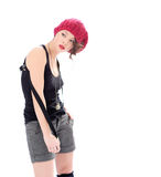 Σοβαρή νέα γυναίκα στο ρόδινο καπέλο Στοκ Εικόνες