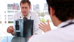 Σοβαροί επαγγελματίες που εξετάζουν μαζί μια ακτίνα X απόθεμα βίντεο