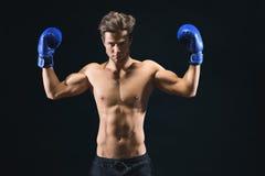 Σοβαρός αρσενικός μπόξερ που παρουσιάζει δικέφαλους μυς του Στοκ φωτογραφία με δικαίωμα ελεύθερης χρήσης