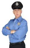 Σοβαρός αστυνομικός, σπόλα, φρουρά ασφάλειας που απομονώνεται Στοκ Φωτογραφία