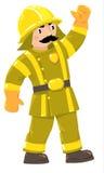 Σοβαρός πυροσβέστης ή πυροσβέστης σε ομοιόμορφο διανυσματική απεικόνιση