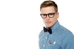 Σοβαρό αντιμέτωπο όμορφο nerd Στοκ φωτογραφία με δικαίωμα ελεύθερης χρήσης