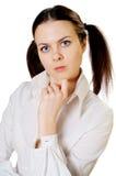 Σοβαρό κορίτσι στο λευκό Στοκ φωτογραφία με δικαίωμα ελεύθερης χρήσης