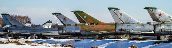 Σοβιετικά αεροσκάφη αγώνα στο χώρο στάθμευσης Στοκ φωτογραφία με δικαίωμα ελεύθερης χρήσης