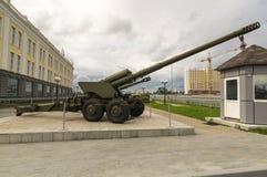 Σοβιετικό πυροβόλο όπλο αγώνα, ένα έκθεμα του στρατιωτικός-ιστορικού μουσείου, Ekaterinburg, Ρωσία, στοκ εικόνα