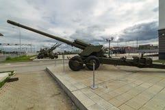 Σοβιετικό πυροβόλο όπλο αγώνα, ένα έκθεμα του στρατιωτικός-ιστορικού μουσείου, Ekaterinburg, Ρωσία, στοκ εικόνες
