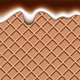 Σοκολάτα βαφλών και υγρό γάλακτος που κυματίζει το αφηρημένο υπόβαθρο vect διανυσματική απεικόνιση