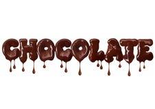 Σοκολάτα επιγραφής που γράφεται με τη λειωμένη σοκολάτα, που απομονώνεται στο άσπρο υπόβαθρο στοκ φωτογραφία με δικαίωμα ελεύθερης χρήσης