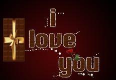 σοκολάτα ι κείμενο αγάπης εσείς Στοκ Εικόνα