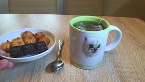 Σοκολάτα και μπισκότα που μαγειρεύονται για το τσάι απόθεμα βίντεο