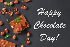 Σοκολάτα με τα φουντούκια, τη μέντα και τα σιτάρια του καφέ σε έναν σκούρο γκρι πίνακα Τοπ όψη 11 Ιουλίου είναι η ημέρα της σοκολ Στοκ φωτογραφία με δικαίωμα ελεύθερης χρήσης