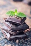 Σοκολάτα μαύρη σοκολάτα Μερικοί κύβοι της μαύρης σοκολάτας με τα φύλλα μεντών Στοκ Φωτογραφία