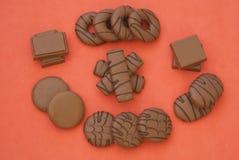 Σοκολάτα Μπισκότα σοκολάτας chocolate cookies three confectionery Πρόχειρα φαγητά Στοκ Φωτογραφία