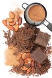 Σοκολάτα, φασόλια κακάου και σκόνη κακάου Στοκ Εικόνα