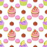 Σοκολάτα φραουλών και λεμόνι βακκινίων cupcakes και διανυσματικό άνευ ραφής σχέδιο μαρεγκών Στοκ Εικόνες