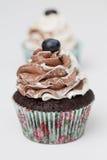 Σοκολάτα Cupcake με το δίκρανο Στοκ Εικόνες