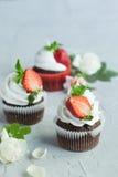 Σοκολάτα cupcakes με τη φράουλα Στοκ εικόνες με δικαίωμα ελεύθερης χρήσης