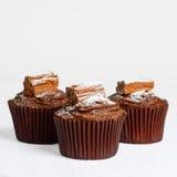 σοκολάτα cupcakes τρία Στοκ Εικόνα