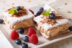 Σοκολάτα millefeuille με την κρέμα καφέ, σμέουρα και bluebe Στοκ φωτογραφίες με δικαίωμα ελεύθερης χρήσης