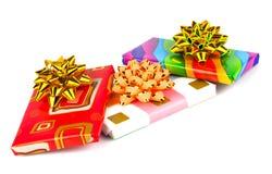 Σοκολάτες δώρων με τις κορδέλλες και τα τόξα Στοκ Εικόνες