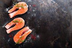 Σολομός φρέσκος σολομός ψαριών Ακατέργαστες μπριζόλες ψαριών σολομών Στοκ Εικόνες