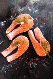 Σολομός φρέσκος σολομός ψαριών Ακατέργαστες μπριζόλες ψαριών σολομών Στοκ φωτογραφία με δικαίωμα ελεύθερης χρήσης