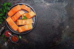 Σολομός φρέσκος σολομός ψαριών Ακατέργαστη λωρίδα ψαριών σολομών Στοκ Φωτογραφία