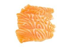 σολομός & x28 σολομός sashimi& x29  τεμαχισμένος απομονωμένος στο άσπρο υπόβαθρο Στοκ φωτογραφία με δικαίωμα ελεύθερης χρήσης