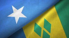 Σομαλία και Άγιος Βικέντιος και Γρεναδίνες δύο υφαντικό ύφασμα σημαιών διανυσματική απεικόνιση