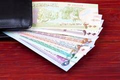 Σουδανέζικες λίβρες στο μαύρο πορτοφόλι στοκ εικόνες