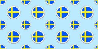Σουηδία γύρω από το άνευ ραφής σχέδιο σημαιών Σουηδικό υπόβαθρο Διανυσματικά εικονίδια κύκλων Γεωμετρικά σύμβολα Σύσταση για τις  διανυσματική απεικόνιση