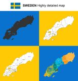 Σουηδία - διανυσματικός ιδιαίτερα λεπτομερής πολιτικός χάρτης με τις περιοχές, prov Στοκ φωτογραφία με δικαίωμα ελεύθερης χρήσης